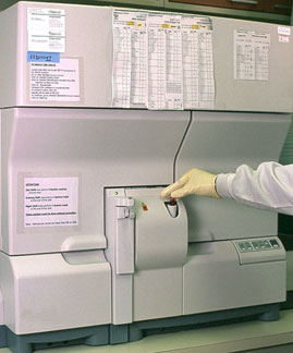 Blood sample in machine